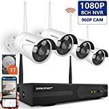 SMONET 1080P Security Camera System Wireless,8-Channel Home Security Camera System(1TB Hard Drive),4pcs 1.3MP(960P) Outdoor&Indoor Wireless IP Cameras,Super Night Vision,P2P,Easy Remote View