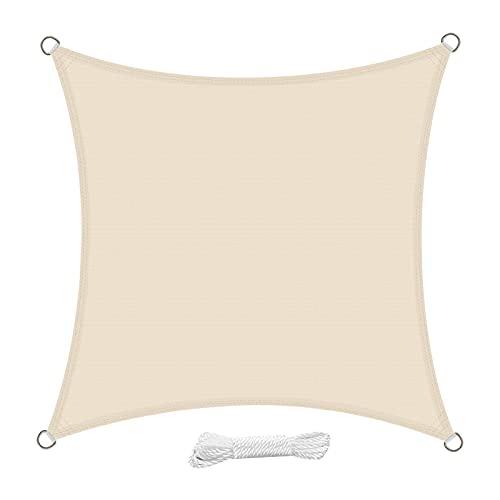 swift Toldo Vela de Sombra Cuadrado 2x2 Metro HDPE Transpirable Protección Rayos UV para Patio Exteriores Jardín, Color Crema