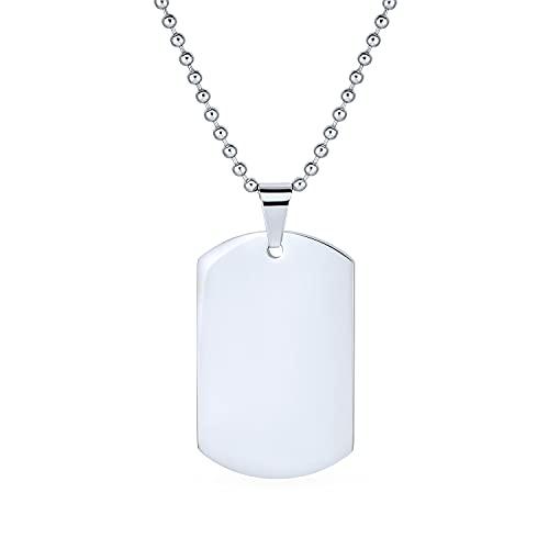 Bling Jewelry Hundemarke Armee Anhänger Mit Halskette Für Herren Gravierbaren Poliert Edelstahl Shot Bead Kugel Kette 24-Zoll