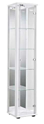 K-Möbel Glasvitrine in Weiss (176x37x33 cm) mit 4 höhenverstellbaren Glasböden aus ESG, LED, Schloss und Spiegel; beleuchtet; perfekt für Sammler;
