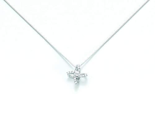 Catenina girocollo Miluna punto luce con Diamante Naturale 0.05ct in oro bianco 18kt CLD3053