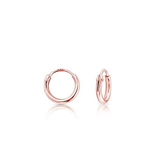 DTPsilver® Pendientes de Aro/Creoles - Plata de Ley 925 Plateada en Oro Rosa - Pequeños/Medianos/Grandes - Espesor 1.5 mm - Diámetro 8 mm