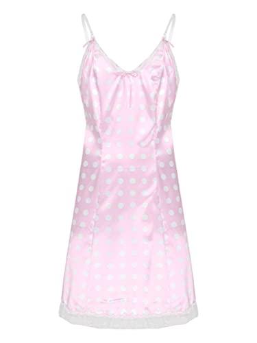 dPois Herren Sissy Kleider Satin Pyjama Babydoll Nachthemd Nachtkleid mit Spitzen Saum Spaghettiträger Dessous Crossdresser Verkleidung Kostüm Rosa_Gepunkt X-Large