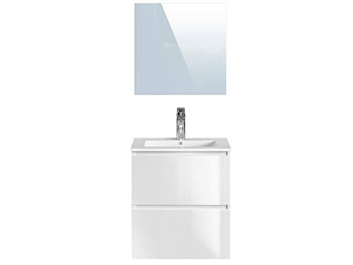 Amazon Marke -Movian Dive - Waschtisch mit Spiegel und Waschbecken, 61x46,5x68cm, Weiß