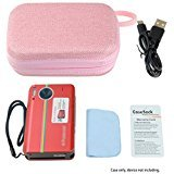 Pink Case for Polaroid Z2300 Mobile Printer and other similar size Portable Printer, with Pouch for Photo Paper and Cable, Compact size Fashion Design (Pink)