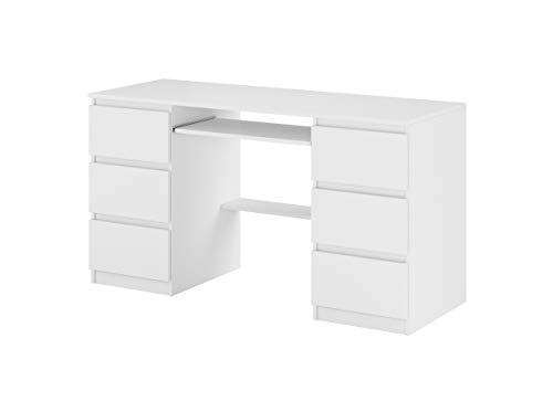 Schreibtisch mit Tischplatte, darunter EIN Tastaturauszug, weiß matt
