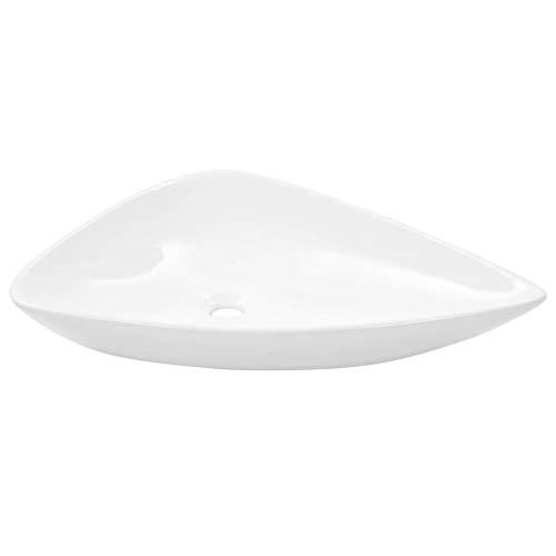 Festnight- Bad-Waschbecken   Keramik Waschschale   Dreiecksform Aufsatzwaschbecken   Badezimmer Handwaschbecken   Keramikbecken   Weiß/Schwarz Keramik 645 x 455 x 115 mm