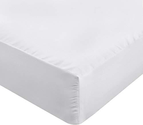 Utopia Bedding Jersey Spannbetttuch - Bettlaken Fur Wasserbett & Boxspringbett - 100% Baumwolle Spannbettlaken - 170g/m² - Steghöhe bis zu 35cm (180 x 200 cm, Weiß)