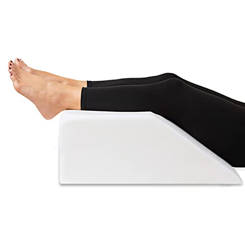 Leg Elevation Pillow with Cooling Gel Memory Foam Top, Post Surgery Leg Rest Pillow High Density Foam Bed Wedge Pillow for Leg & Back Support and Pregnancy - Relieves Knee, Hip and Lower Back Pain