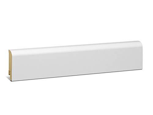 KGM Sockelleiste weiß 58mm | Rund Fussleiste weiss 18x58mm ✓elegante Rundung ✓weisse Leiste ✓Kabelkanal | Edle mdf Sockelleisten weiss Folie | Fussleisten für Laminat & Parkett | Länge 2.5m