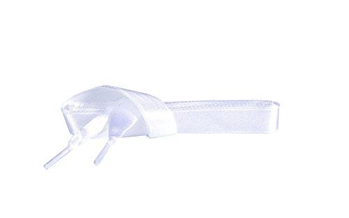 Kaps Satin Schnürsenkel – 1 Paar breite & flache Schuhbänder für z.B. Sneaker & Sportschuhe in Premiumqualität – hochwertige Flachsenkel & Schuhsenkel (120 cm – 6 bis 8 Ösenpaare in Weiß)