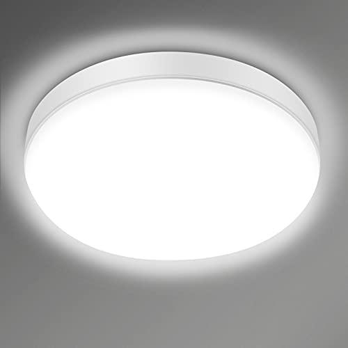 Lámparas de Techo, Plafon Led Techo 24W 6000K 2200LM Equivalente 150W Luz de Techo Led Impermeable IP54 Ø23cm Moderna Cocina Dormitorio Pasillo [Clase de eficiencia energética A+]