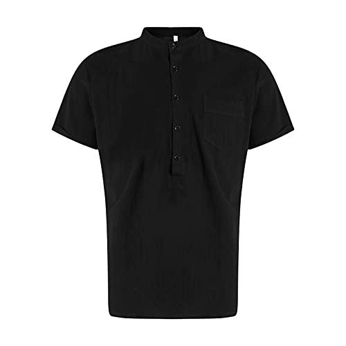 Nuevo 2021 Camiseta Hombre Verano Algodón y lino Manga corta Color sólido Moda Casual T-shirt Suelto Blusas camisas Camiseta Cuello redondo suave básica camiseta Ligero transpirable Top