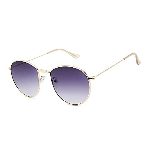 WANGZX Gafas De Sol Redondas para Hombre con Montura De Metal Retro para Hombre Gafas De Moda para Mujer Uv400 Dorado-Gris