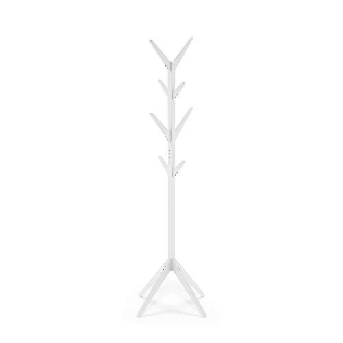 Furinno Yaotai Tree-shaped Coat Rack Stand, White