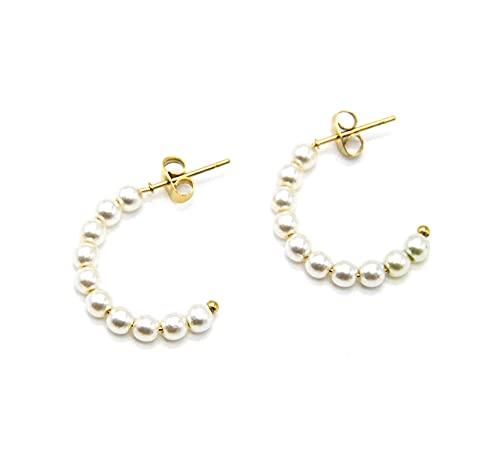 BO2001 – Pendientes de mini aros de acero dorado y perlas crudo