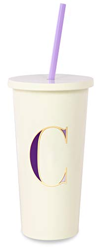 Kate Spade New York Insulated Initial Tumbler with Reusable Straw, 20 Ounce Acrylic Travel Cup with Lid, C (Purple)
