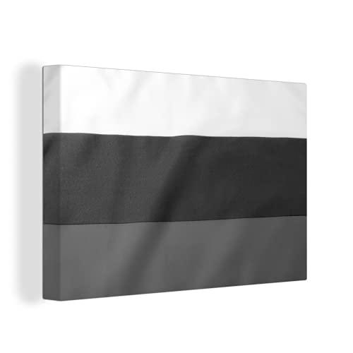 Leinwandbild - Nahaufnahme der Flagge von Bulgarien - schwarz & weiß - 150x100 cm