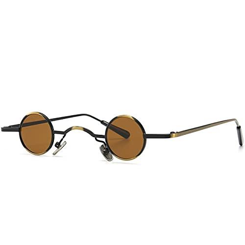 WOJING Gafas de sol redondas steampunk para mujer pequeños marcos punk gafas de sol retro gafas vintage UV400