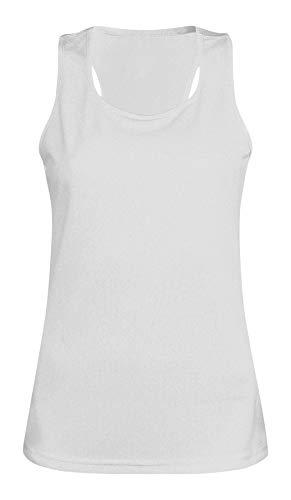 MKR Damen-Oberteil, schnelltrocknend, atmungsaktiv, für Sport, Laufen, Joggen, Fitness, Yoga, Fitnessstudio, Eisweiß, XS (8)