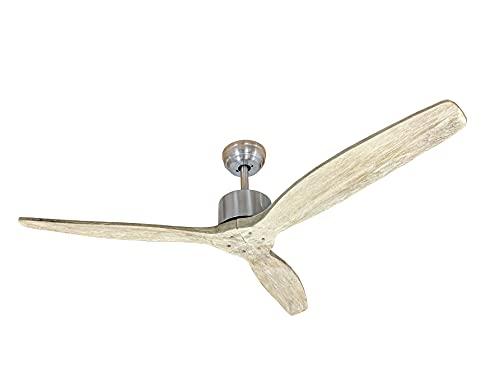 Ventilador de techo de 132 cm de diámetro. Motor de 40 W sin escobillas con inversión de rotación y 6 velocidades ajustables por mando a distancia – Aspas de madera natural – Plikc Aura Wood (Shabby)