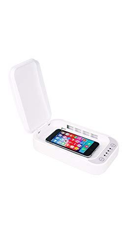 EYB Extend Your Brand Caja esterilizadora y desinfectante de móviles, Cualquier tamaño; en Tan sólo 5 Minutos Limpia el 99,9% de los Virus de tu Smartphone; Incluye función de Carga inalámbrica.