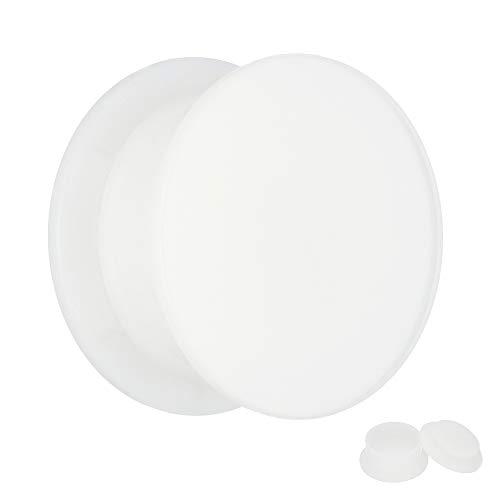 Treuheld® | 5mm Ohr Plug in Weiß | Acryl/Kunststoff | Gewinde - Schraubverschluss | Classic Flesh Tunnel Plug | Hochwertig und Hautfreundlich