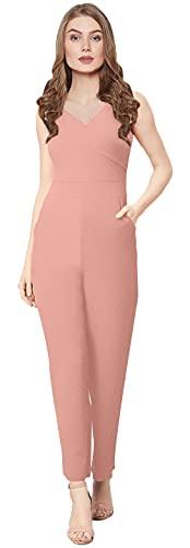 FEEL CLOSE LIVE CLOSE Women's Polycotton Jumpsuit (Peach, Small)