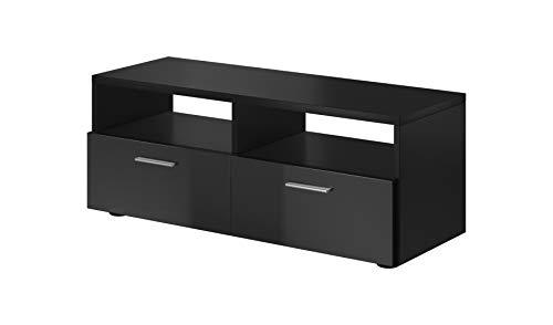 E-Com - TV-Lowboard Fernsehschrank Fernsehtisch Bolt - 95 cm - Schwarz