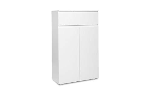 Newfurn Sideboard Kommode Modern Anrichte Highboard Mehrzweckschrank II 80x131x 40 cm (BxHxT) II [Nikita.six] in weiß/Weiß Wohnzimmer Schlafzimmer Esszimmer