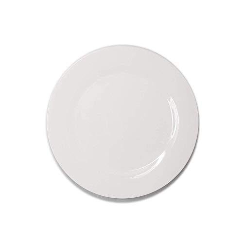 White Porcelain China Ceramic Saucer Bread Appetizer Kitchen Catering Restaurant Dinner 10 1/4 Inch Round Plate (4)