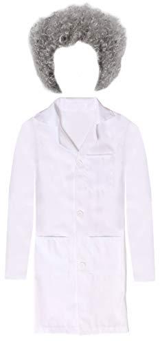 infantil científico con Peluca einstien Disfraz - Blanco Bata de laboratorio Plus Gris Rizado - Ideal Para Halloween disfraces y Tema - Disponible en 4 DIFERENTES TALLAS: pequeño, mediano, GRANDE XL