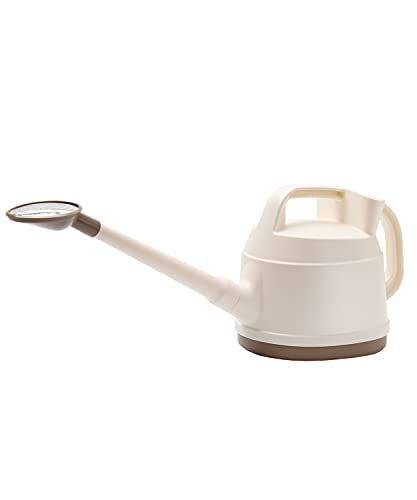 SAROSORA Outdoor Watering Can 0.9 Gallon Long Spout with Detachable Shower Head for Garden Flowers Plants (White, 3.3L/0.9GAL)