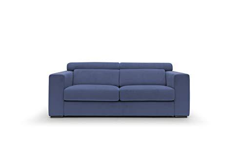 Sofá fijo de tela suave totalmente desenfundable, modelo Evoque de 3 plazas o esquinero con chaise longue derecho o izquierdo, estructura de madera, fabricado en Italia, color azul, 2,5 plazas