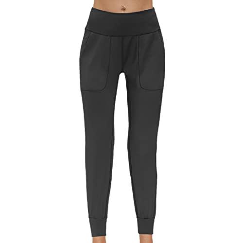 PPPPA Leggings de cintura alta para mujer de barriga opacos elsticos suaves y mantecosos, talla grande para entrenamiento, gimnasio pantalones elsticos leggings para correr con bolsillos para mujer