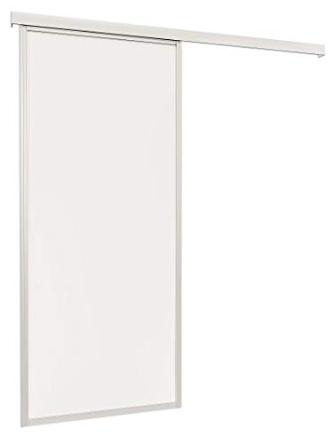 inova Holzschiebetür Zimmertür 865 x 2035 mm Innentür weiß mit umlaufendem 26 mm Alu-Profil Komplettset mit Laufschiene & Holztür