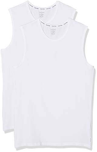 Calvin Klein Herren Crew Neck 2PK Sport Tank Top, Weiß (White/White 100), Large (2er Pack)