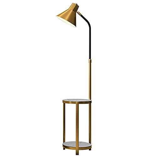 FYRMMD Lámpara de pie con Estante de mármol, mesita de Noche con lámpara incorporada, luz de pie con estantes, Lectura Ajustable (lámpara de pie)