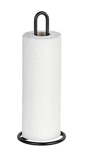 WENKO Küchenrollenhalter - Rollenhalter für Küchentücher, stehend, Metall, 12.5 x 32.5 x 12.5 cm, Schwarz