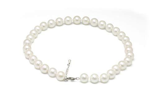 Schmuckwilly Muschelkernperlen Perlenkette Perlen Collier - weiß Hochwertige Damen Muschelkernperlen Kette 45cm 12mm mk12mm099-45