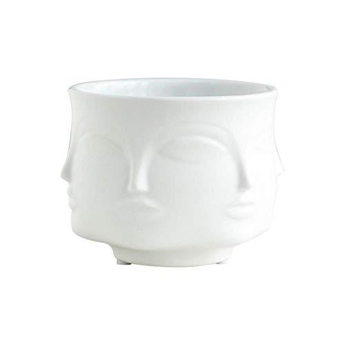 zwbaobei EIN Vase Kreatives Design Blumentopf Keramik Ornamente Für Tischblume Gesicht Aromatherapie Kerze Tasse, Weiß