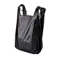 8 x 13 x 18 Strong Black Vest Style Plastic Carrier Bags Sabco Heavy Duty 20mu Hi Tensile Vest Bottle Carrier Bags 100
