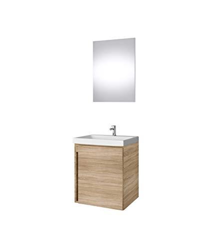 Planetmöbel Mueble bajo para lavabo con espejo de 50 cm, mueble de baño para invitados (roble sonoma)