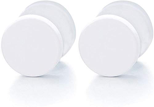 Outletissimo Par de pendientes pendientes de acero titanio para hombre y mujer, falso dilatador, 8 mm, color blanco