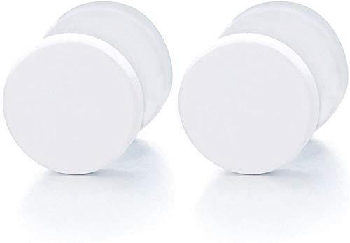 Outletissimo Par de pendientes de acero titanio para hombre y mujer, falso dilatador, 10 mm, color blanco