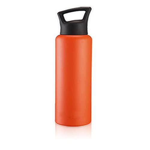 Botella de agua deportiva Acero inoxidable Capacidad de gran capacidad de doble capa Copa de aislamiento de vacío al aire libre Portátil Portátil Botella de agua ( Color : Orange , Size : 750ml )