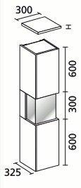 Lanzet vitrinekast wit - eiken Maron 30L