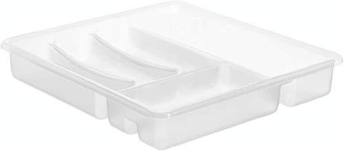 Rotho Basic Besteckkasten mit 6 Fächern, Kunststoff (BPA-frei), Transparent, (39 x 32 x 6 cm)