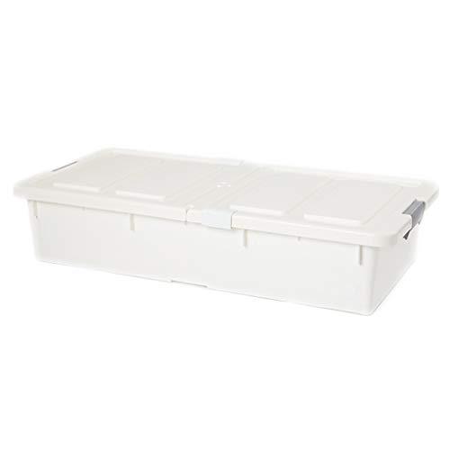 Cesta de almacenamiento simple Caja de almacenamiento inferior Cajón plano Caja de almacenamiento de plástico Caja de almacenamiento de ropa blanco/gris hermosa (color blanco)