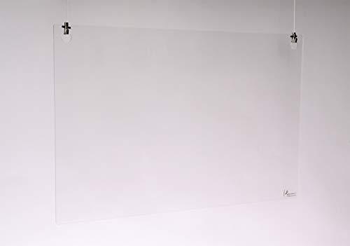 Queence | Premium Tröpfchenschutz aus Acrylglas zum Aufhängen | Hustenschutz für Empfangsbereich | Hängend | Niesschutz | für Deckenmontage, incl. Aufhängung, Größe:120x80 cm